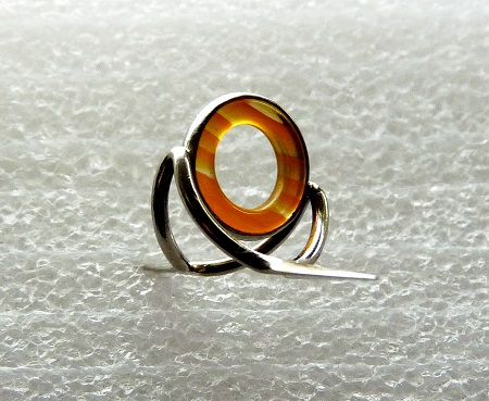 BLACK 10 MM ORANGE AGATE STRIPPING GUIDE FOR YOUR BAMBOO ROD